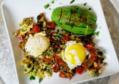 Eggs with Veggies and roasted Tomatoes