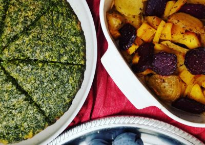 Persian Herb Frittata, Roasted Root Vegetables with Fresh Plums