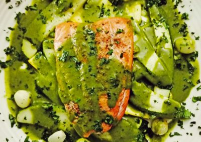 Salmon Green Curry with Pearl Onions, Zucchini and Crookneck Squash